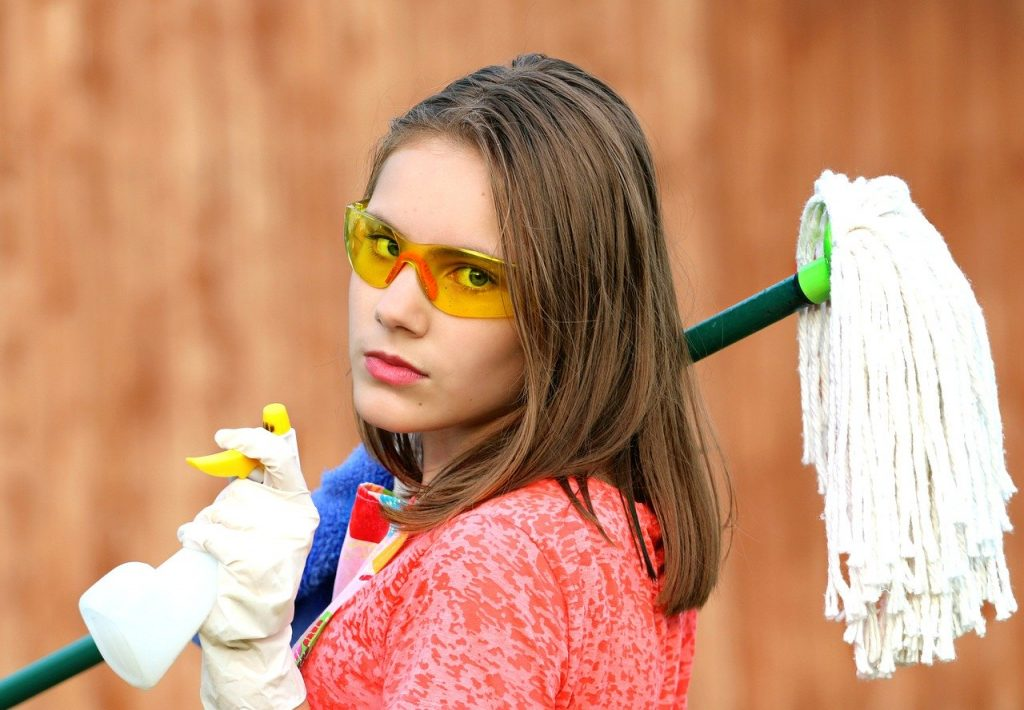 girl, glasses, mop
