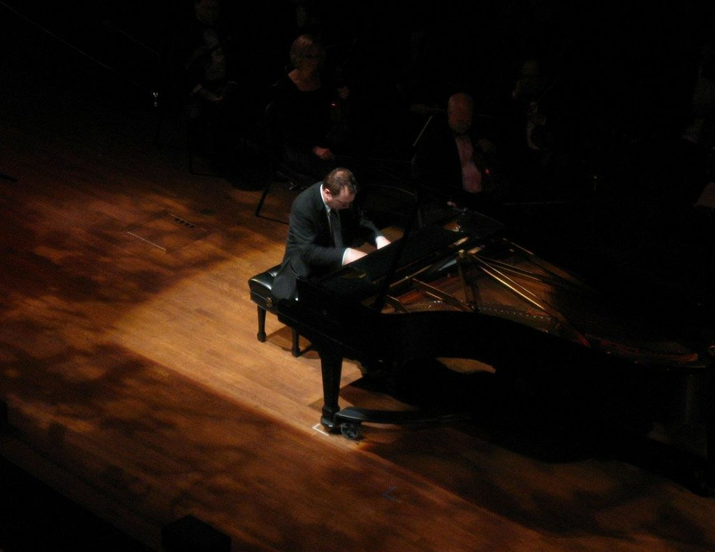 piano, pianist, stage